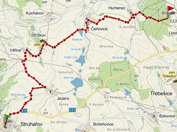 Trasa výletu -  mapy.cz